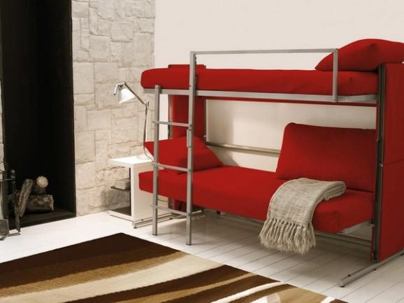 女性でも簡単に2段ベッドへ変形させることができるソファ「DOC